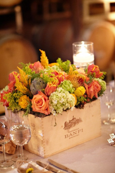Vintage wine box centerpieces