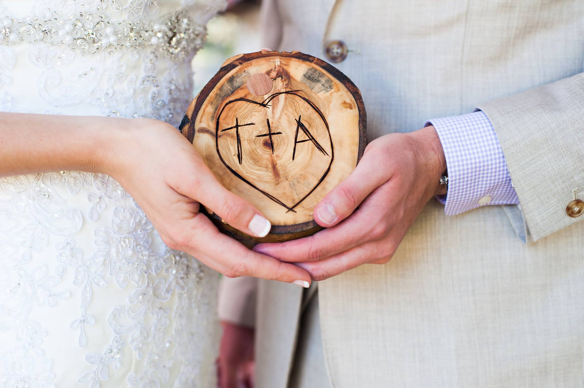 This ring box was made by the incredibly talented Ryan Blackmer of  Blackmer Studios , using a photo reference of a tree in flagstaff, AZ where the Groom had carved their initials into years earlier- it is also the same spot where he propoused!  what  a sweet memento to have to remind them of their picture perfect wedding day.