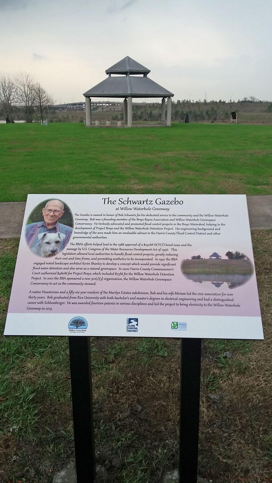 the schwartz gazebo commemorative plaque pedestal