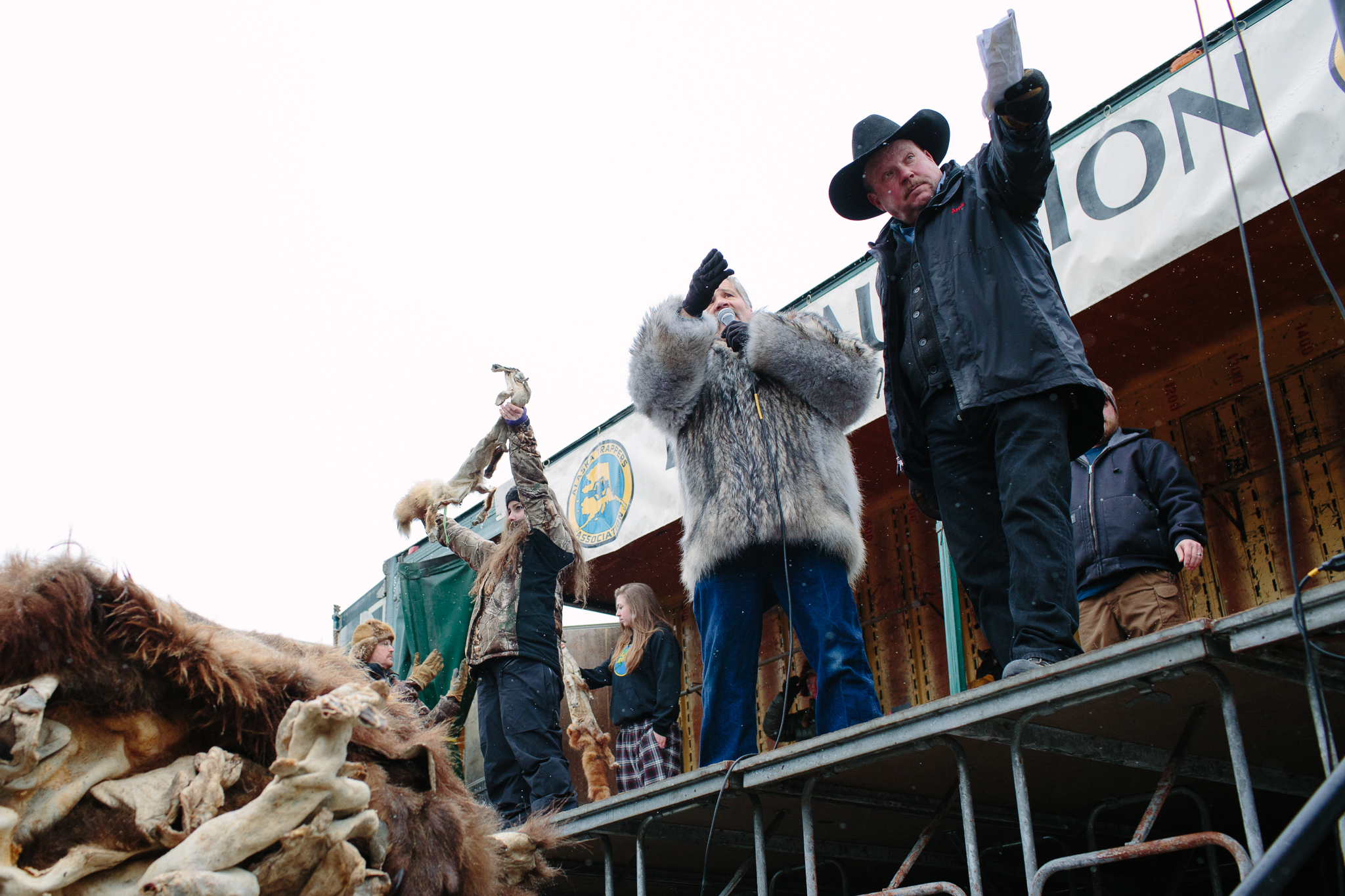 Volunteer auctioneers at the Fur Rondy Horn and Hide Auction.