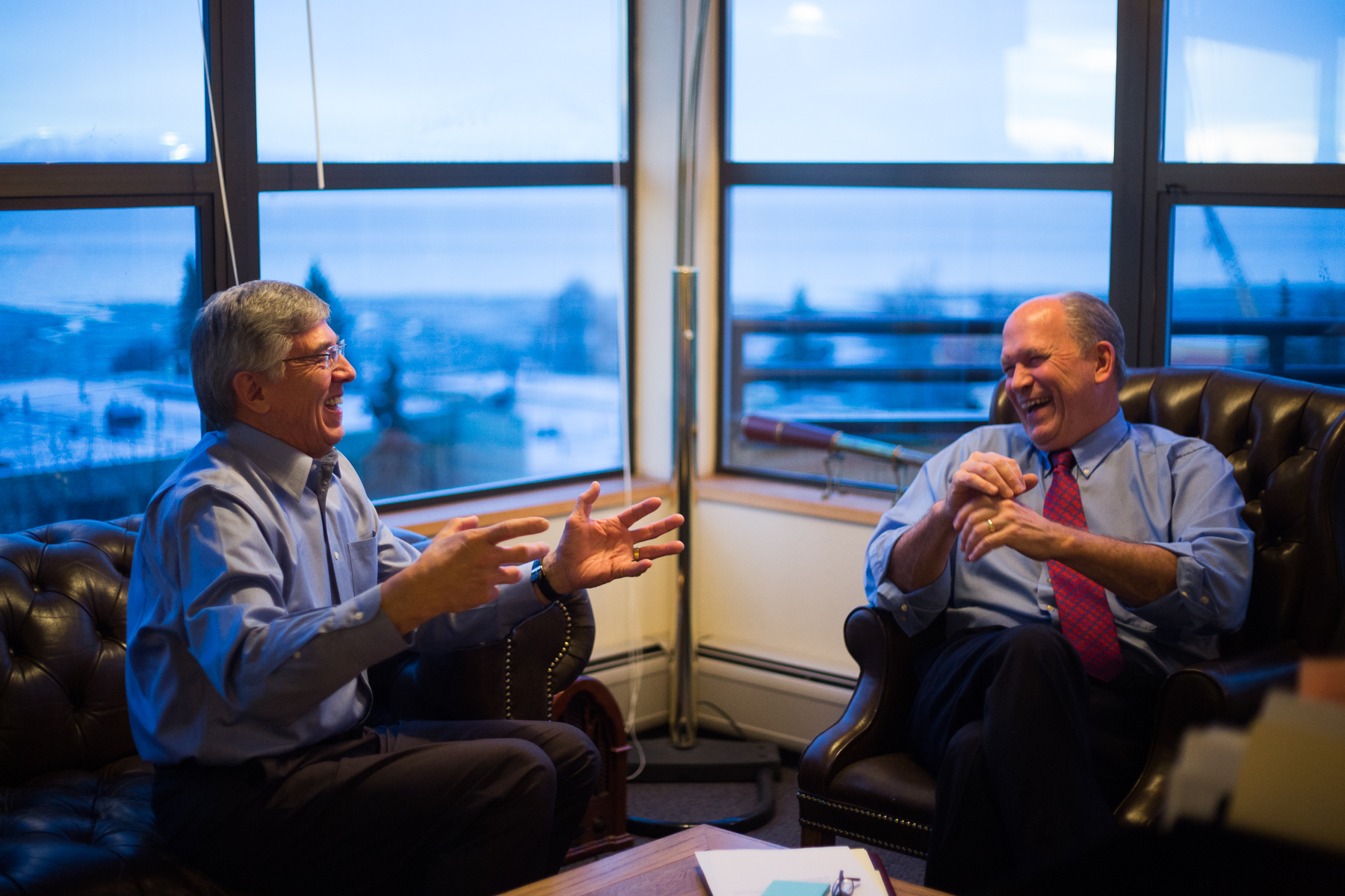 Governor Elect Bill Walker (right) and Lieutenant Governor Elect Byron Mallott met in Walker's offices in Anchorage, Alaska on Thursday, November 20, 2014.