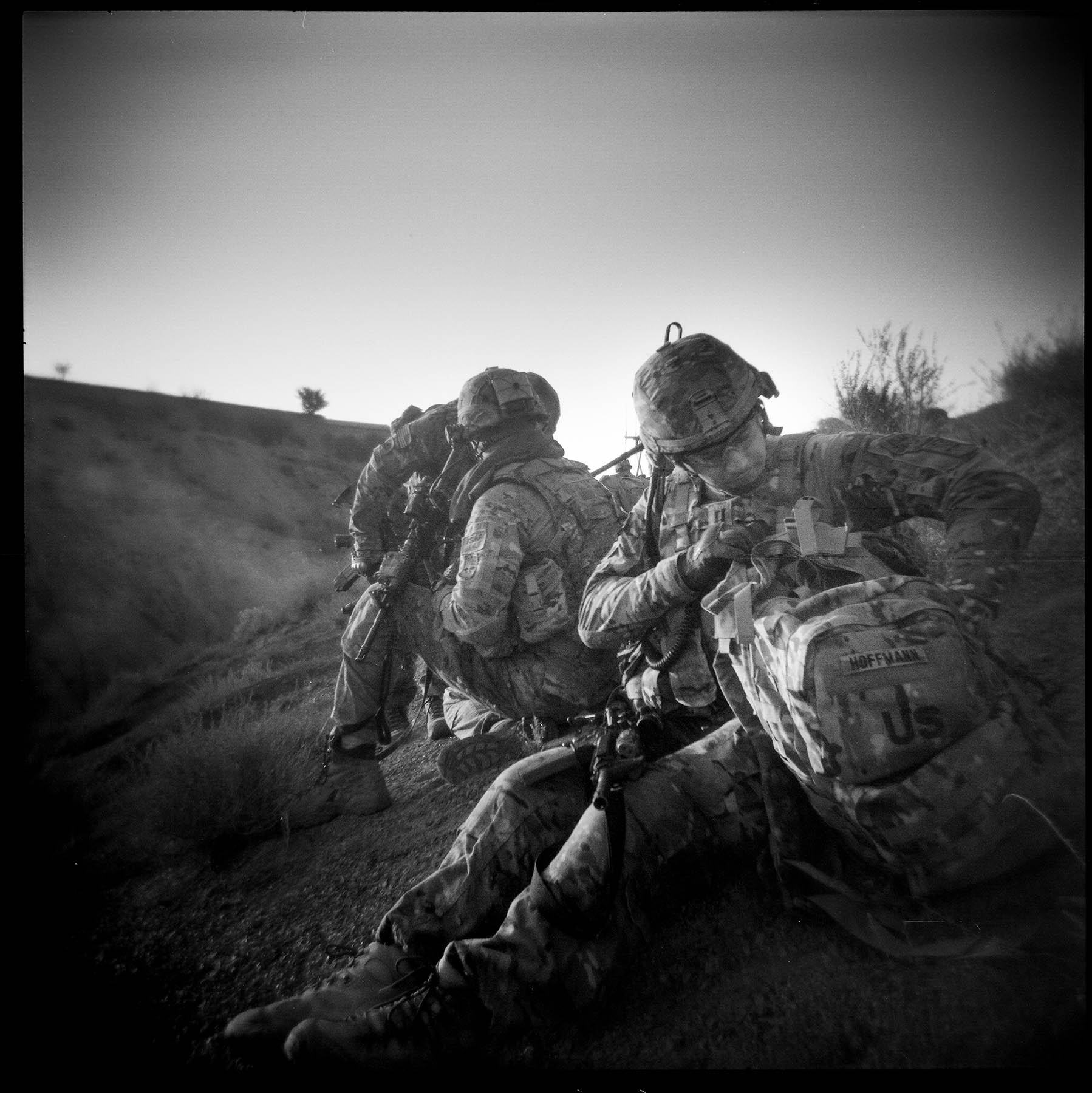 Soldiers pause while on patrol in Gayan district, Paktika province. 2011.