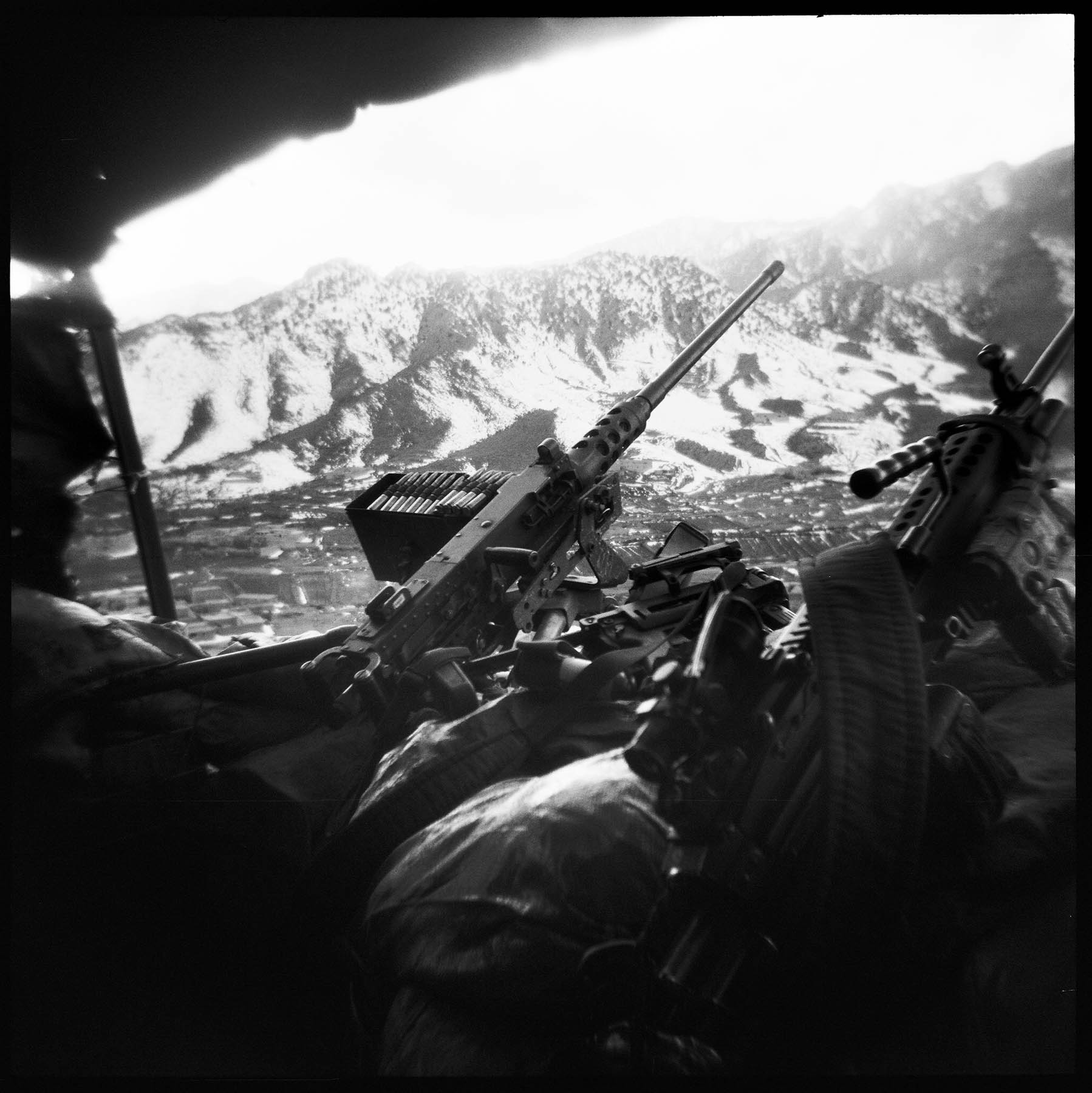 Weapons perch at an overwatch outpost above COP Munoz in Gayan District, Paktika Province, Afghanistan. 2011.