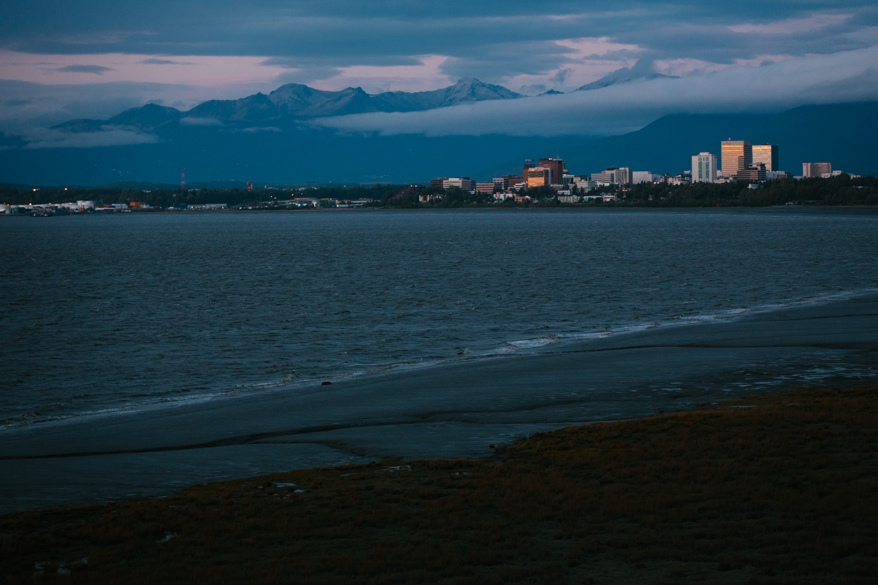 Downtown Anchorage, viewed across a portion of Cook Inlet.