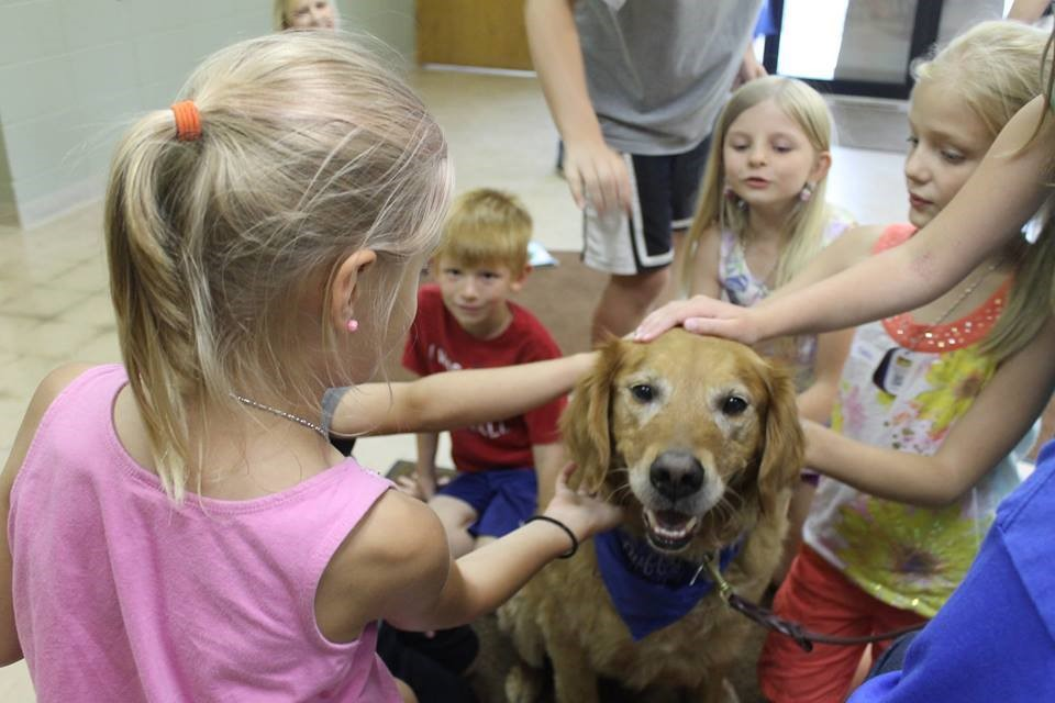 Pet Therapy dog Duffy visiting with the Mount Calvary Lutheran Church Bible Cam students.