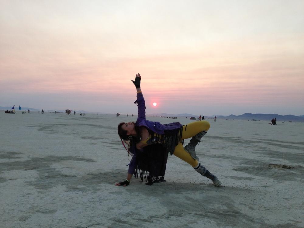 In deep playa at sunrise, Burning Man 2013