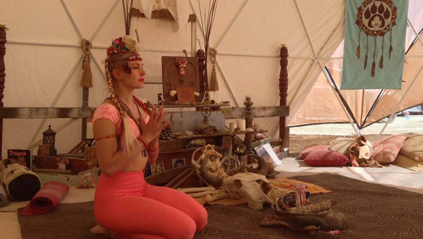 Teaching yoga at Burning Man (Raised x Wolves, BRC, 2014)