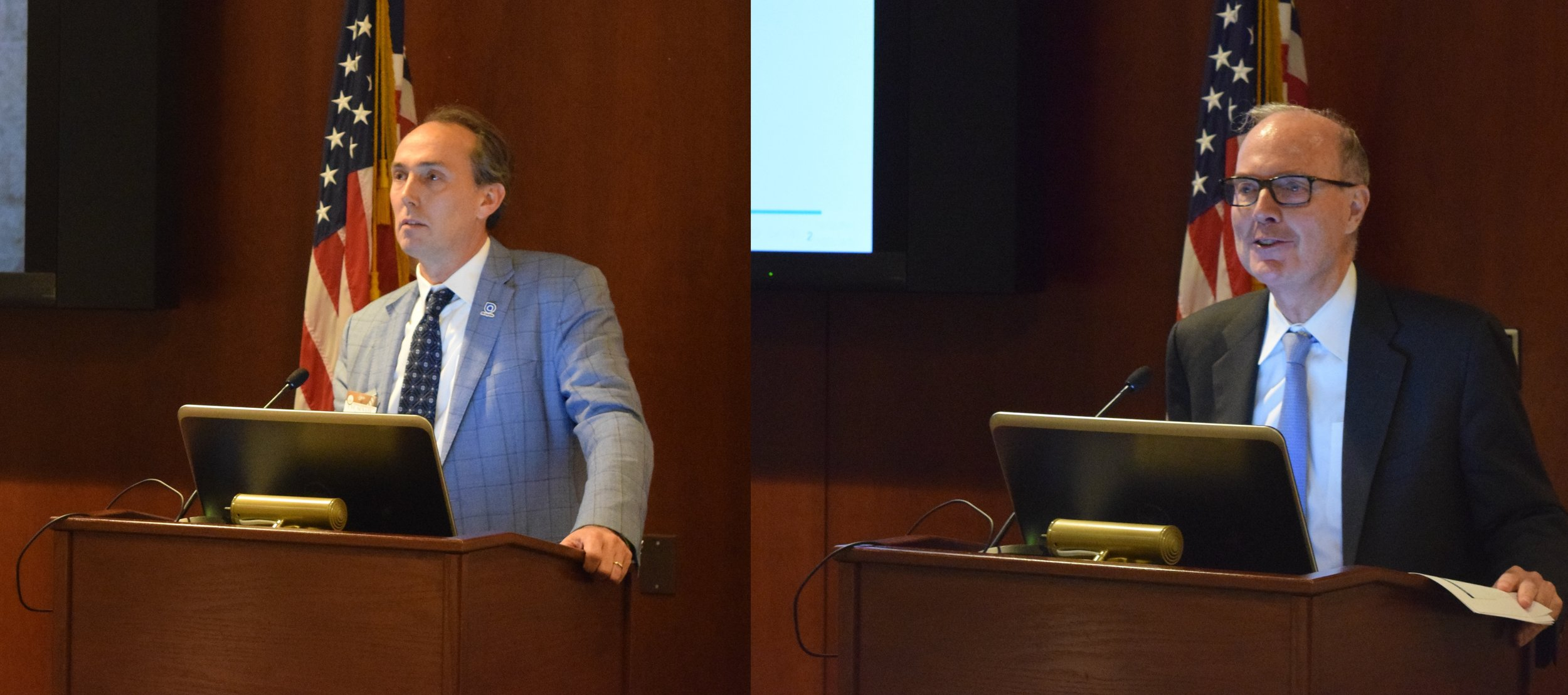 Ole Hoefelmann (left), CEO of Air Liquide Advanced Technologies U.S., and Andy Marsh (right), CEO of Plug Power, gave presentations on hydrogen fueling infrastructure and stationary power fuel cells, respectively. Source: FCHEA