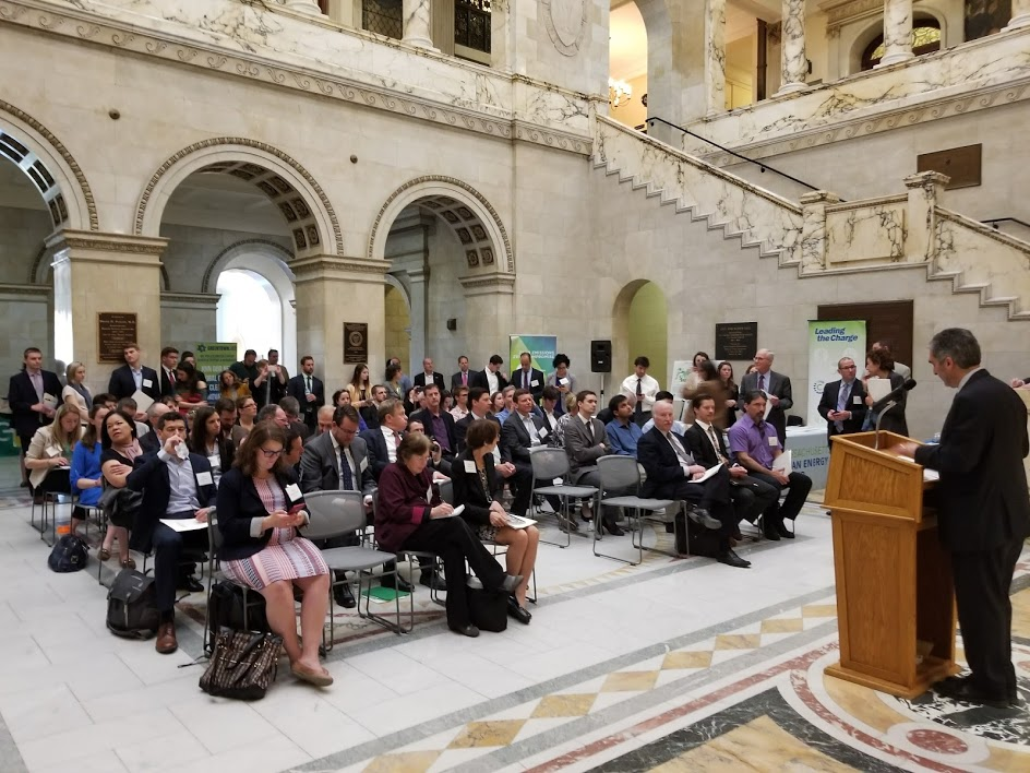 Peter Rothstein, President of NECEC, addresses the attendees at the Massachusetts State House