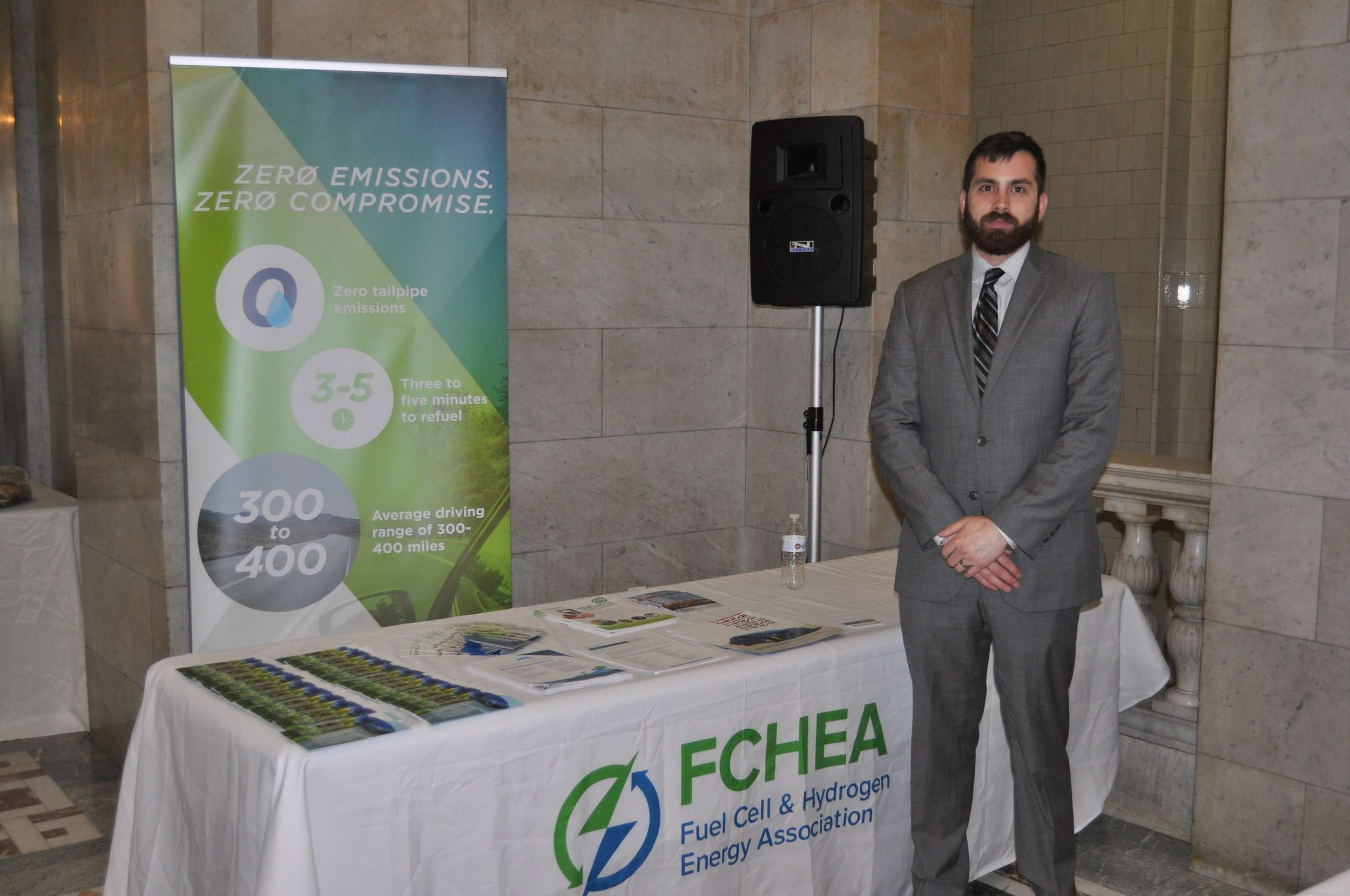 FCHEA's booth at the Clean Energy Business Showcase in the Massachusetts State House.