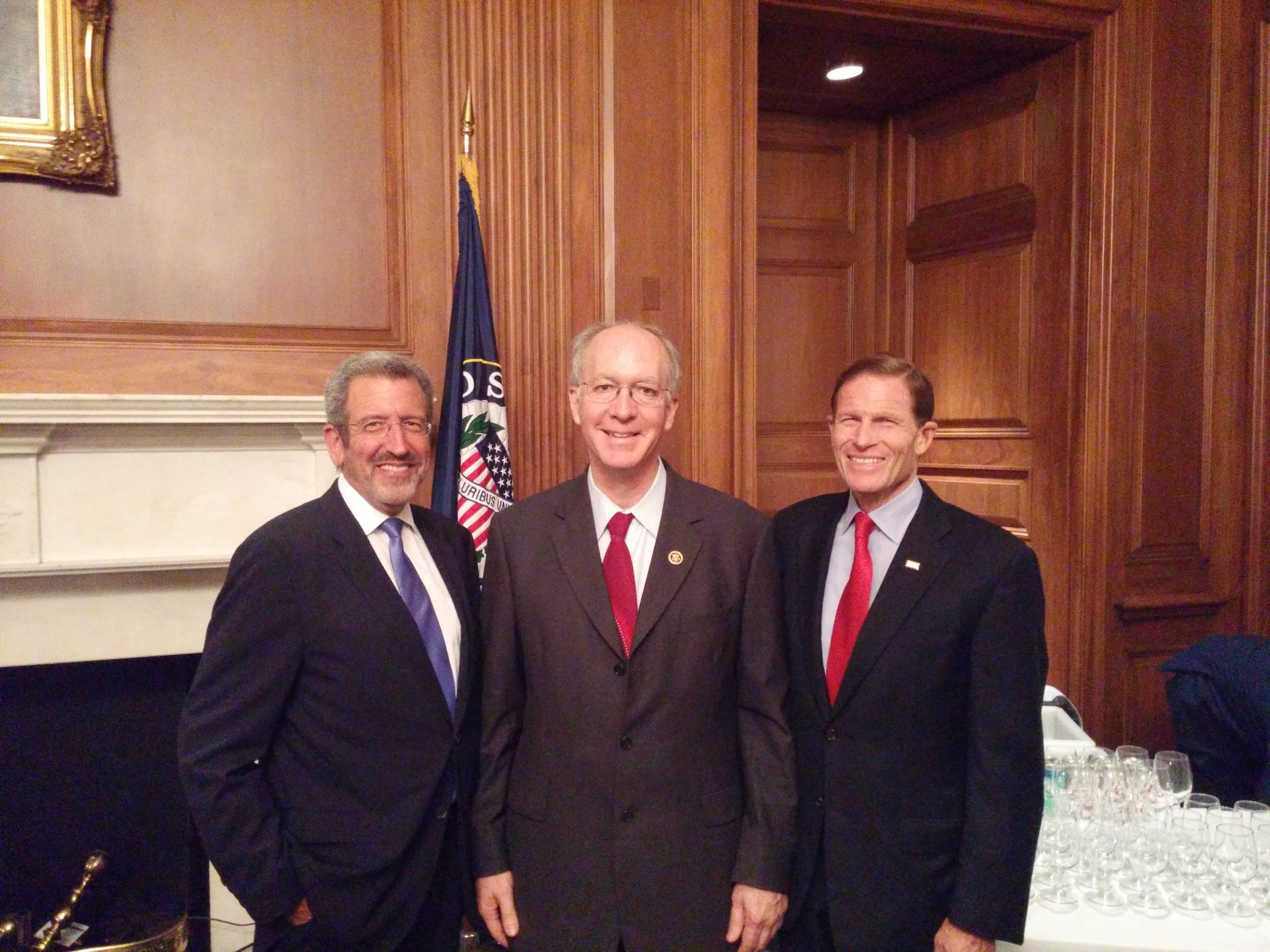 From right to left: Senator Blumenthal, Representative Foster, and FCHEA President Morry Markowitz