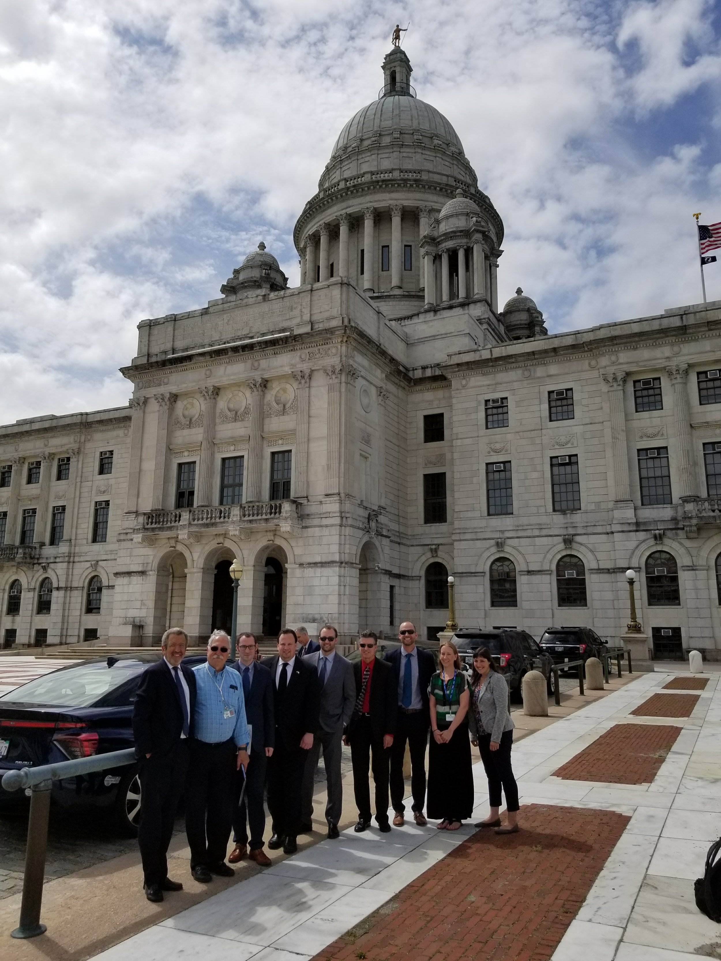 June 16: outside the Rhode Island State Capitol in Providence.