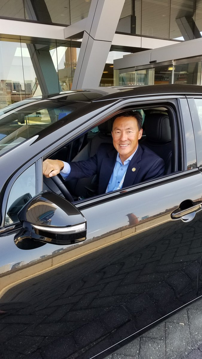 Delegate Mark Keam of the Virginia House of Delegate's 35th District behind the wheel of the Toyota Mirai.