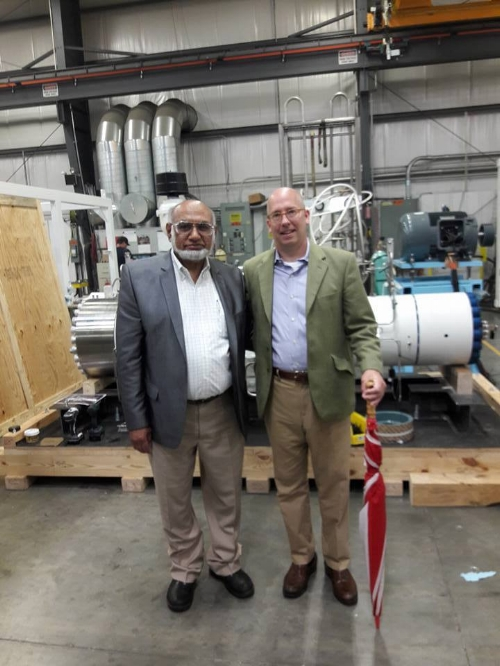 Attending the open house was Mayor Andrew Szekely (right) from Lansdale, PA taking a tour of PDC Machines.