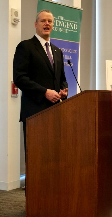 Governor Baker addresses members of the New England Council in Boston, April 12, 2018.