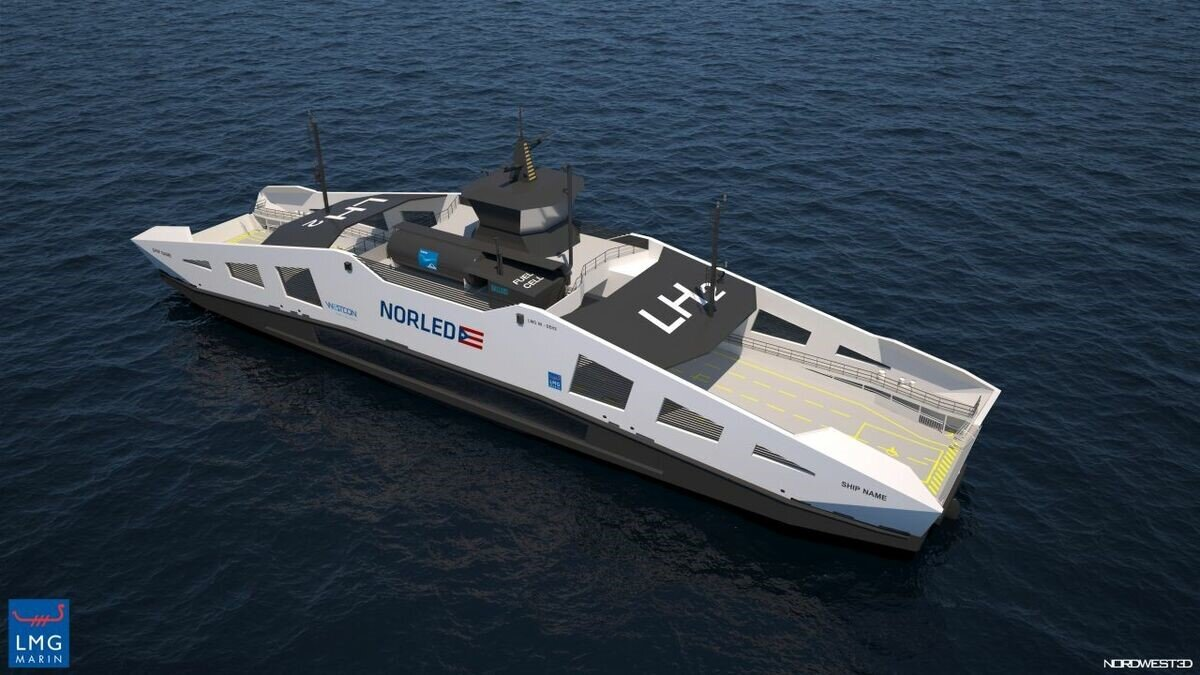 Digital rendering of the Norled Hydrogen Ferry  Source