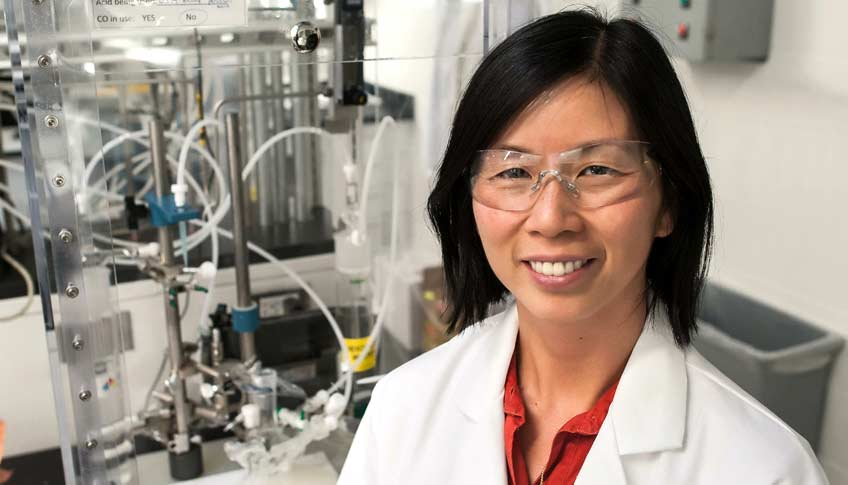 NREL Senior Scientist Huyen Dinh has overcome the upheaval of being a refugee to becoming a leader in hydrogen research. Photo by Dennis Schroeder, NREL
