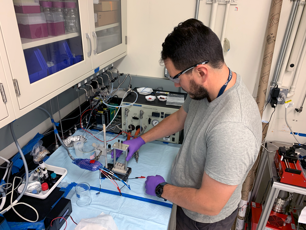 Researcher Nem Danilovic works with electrochemical interfaces to improve energy conversion devices for hydrogen technologies