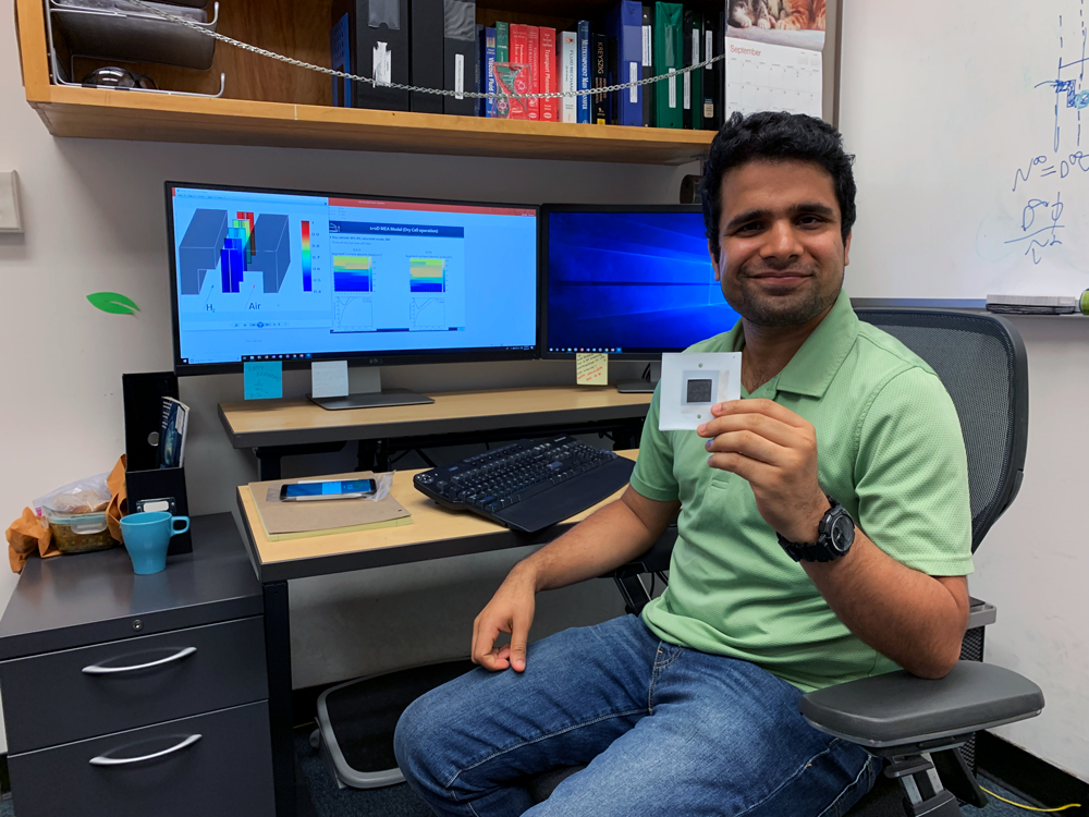 Post doc fellow Lalit Pant uses computer modeling to improve proton-exchange membranes. The goal: more efficient hydrogen fuel cells.