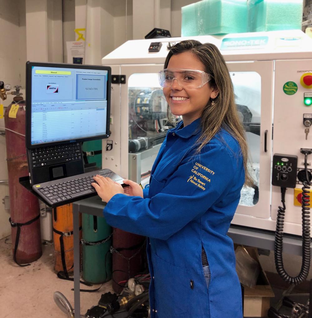 Undergrad researcher Ashley Werre works with catalyst layers to find the best materials for efficient hydrogen fuel cells