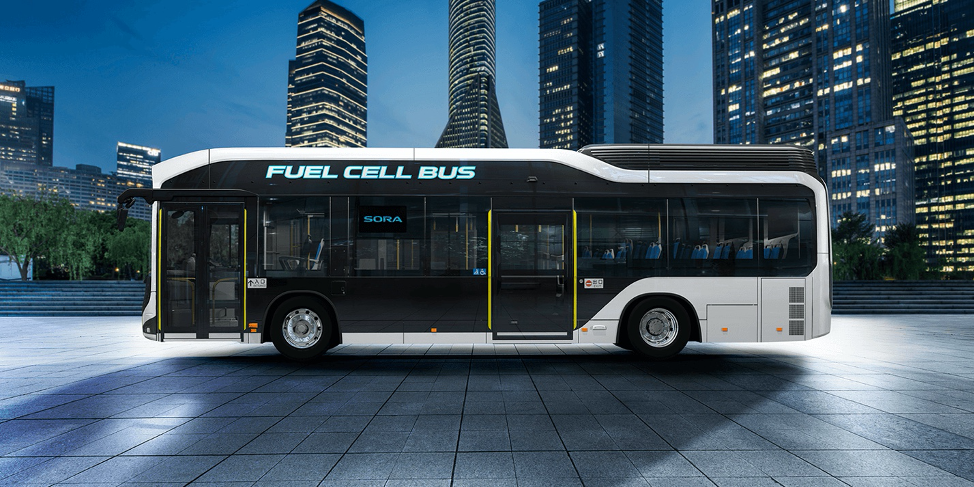 Hydrogen fuel cell busses will be a major form of transpiration at the games.