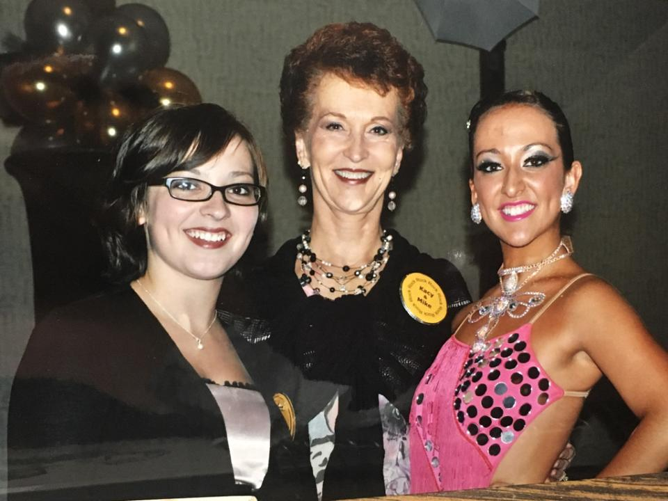 Gladys at a competition with her granddaughters, Jordan & Kacy. This was Kacy's first competition as a professional dancer.