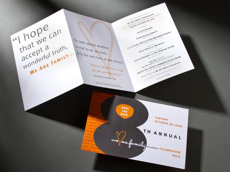 We Are Family Foundation | 2010 Celebration Gala Invitation Design