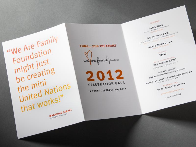 We Are Family Foundation | 2012 Celebration Gala Invitation Design
