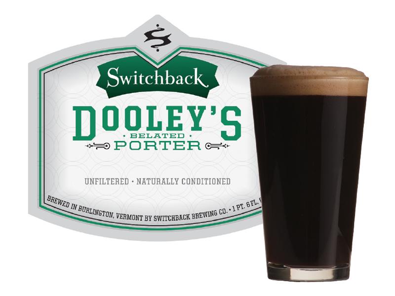 Switchback Brewing Co.   Dooley's Belated Porter Bottle Label & Pint Design