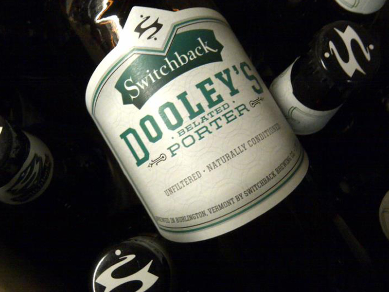 Switchback Brewing Co.   Dooley's Belated Porter Bottle Label Design