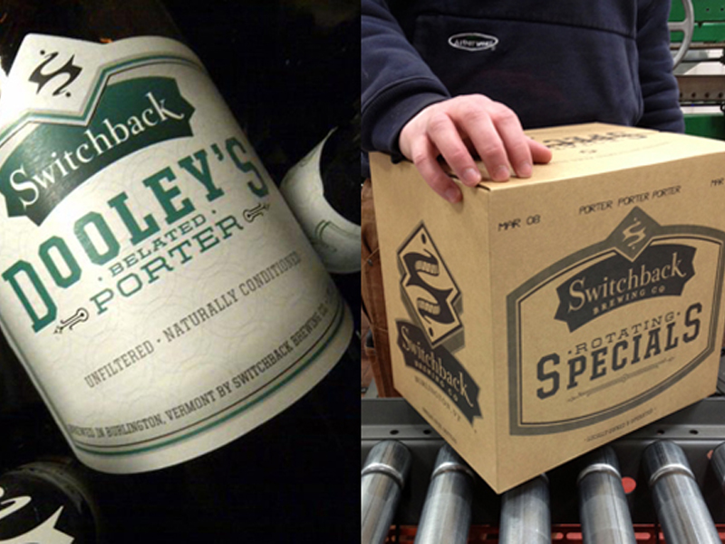 Switchback Brewing Co. | Dooley's Belated Porter Bottle Label and Specials Case Box Design
