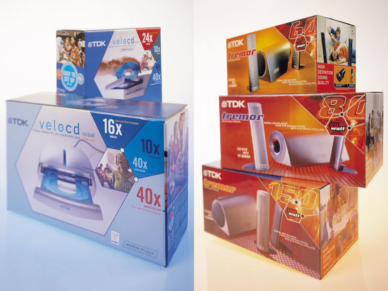 TDK Electronics Corp. | CD/DVD Retail Burner & Flat-Panel Speaker Packaging Design