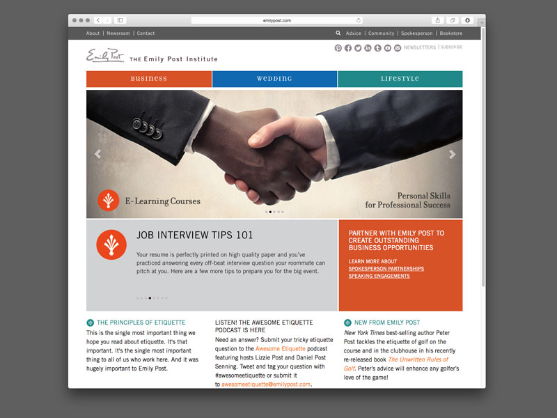 The Emily Post Institute Website Design |  view site