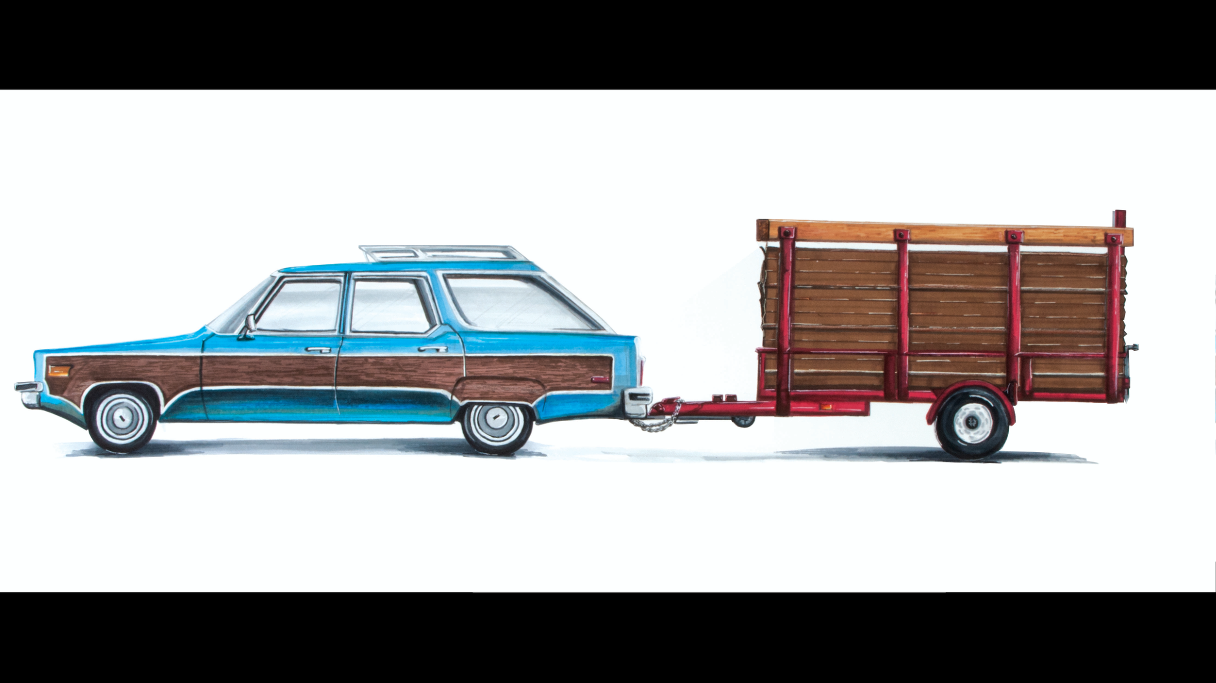 "Gift for my dad of his station wagon and trailer. 30"" x 12"" created using Prismacolor markers."