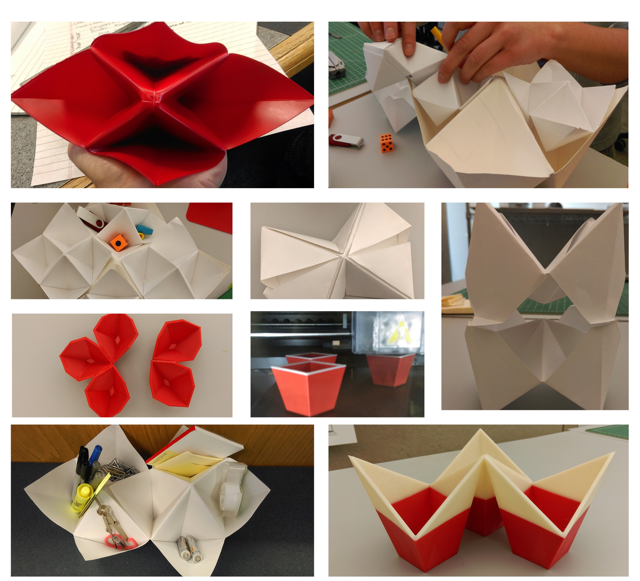 Models inspired by origami. Experimenting with Polypropylene as well as 3D printing.