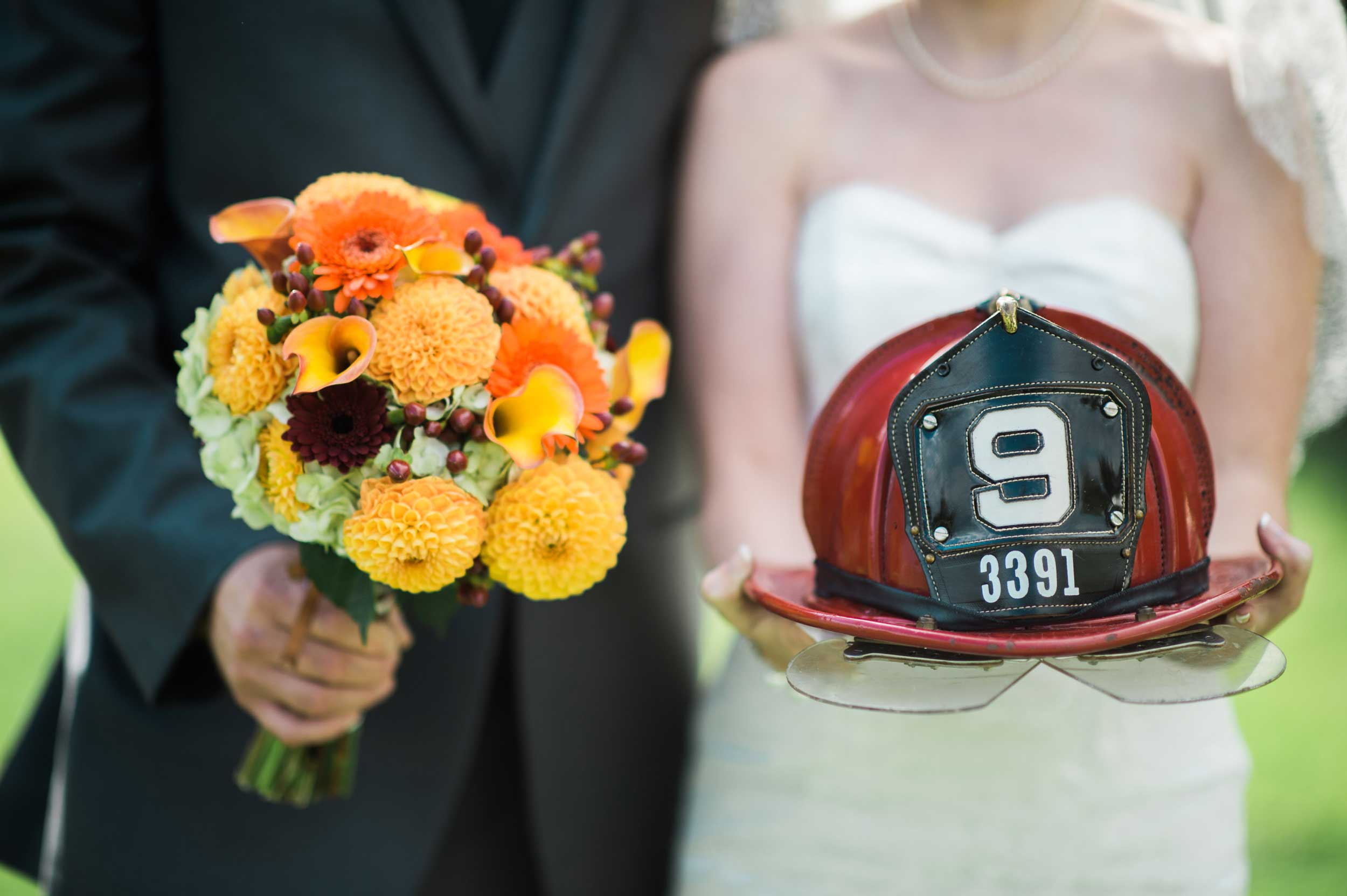 Firefighter wedding portrait
