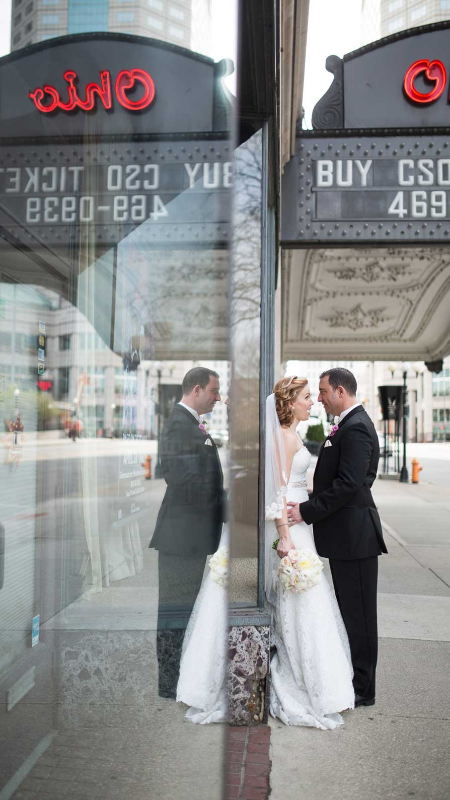 Bride and groom in front of the Ohio Theater