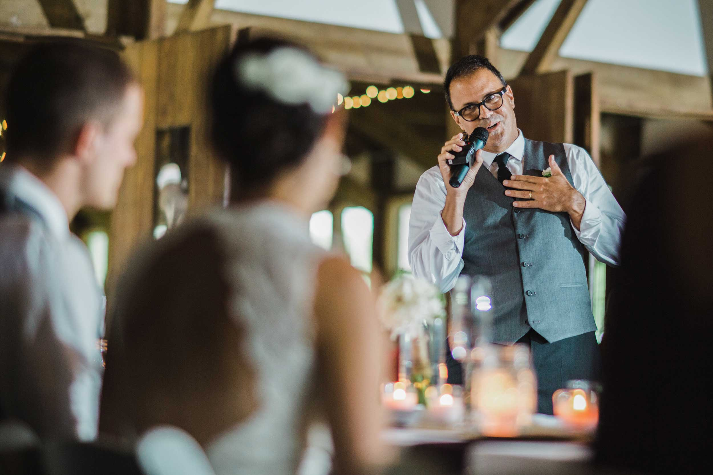 Father of the bride giving an emotional toast