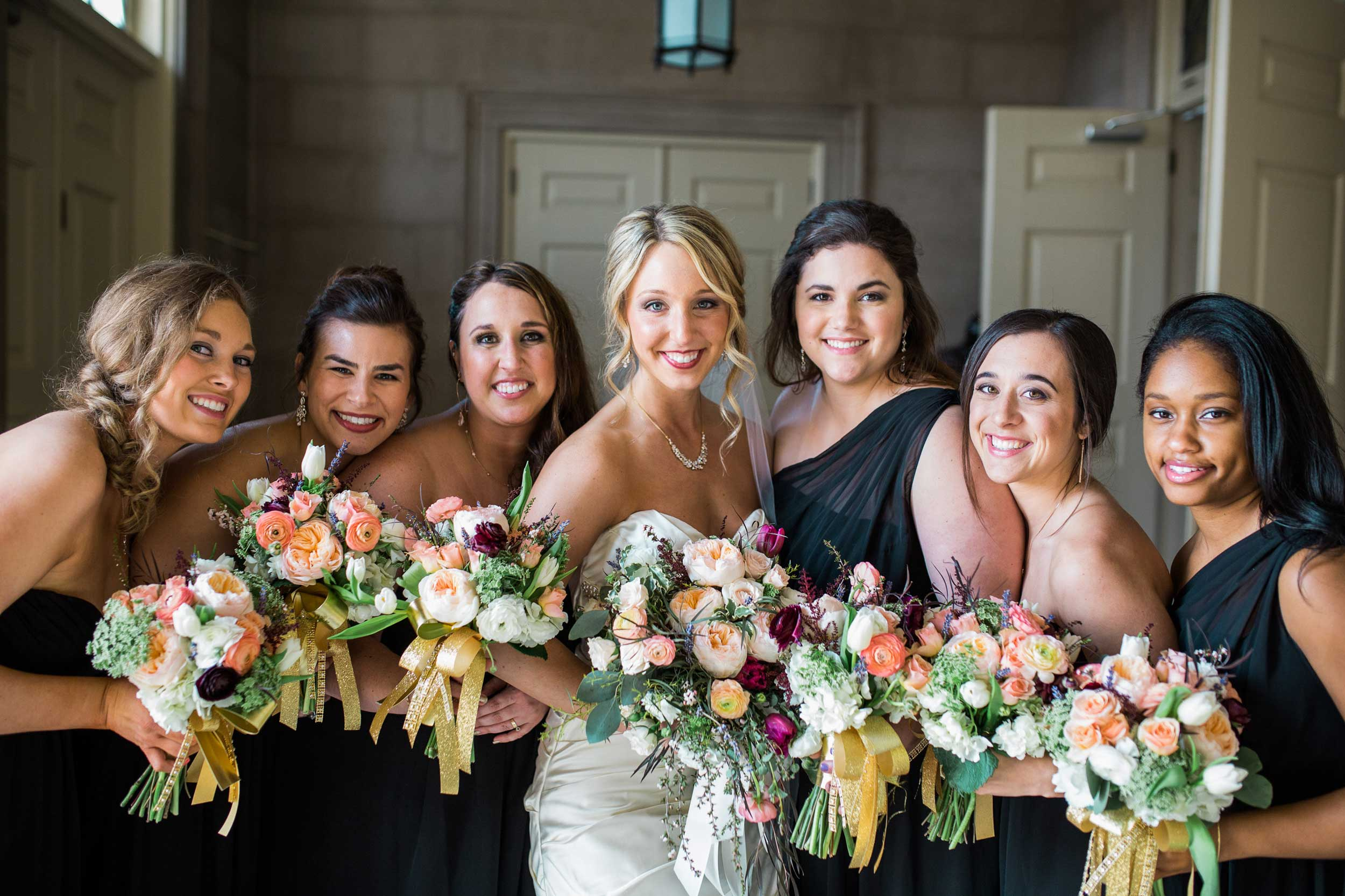 Bridesmaids at the Dennison University Chapel in Granville, OH