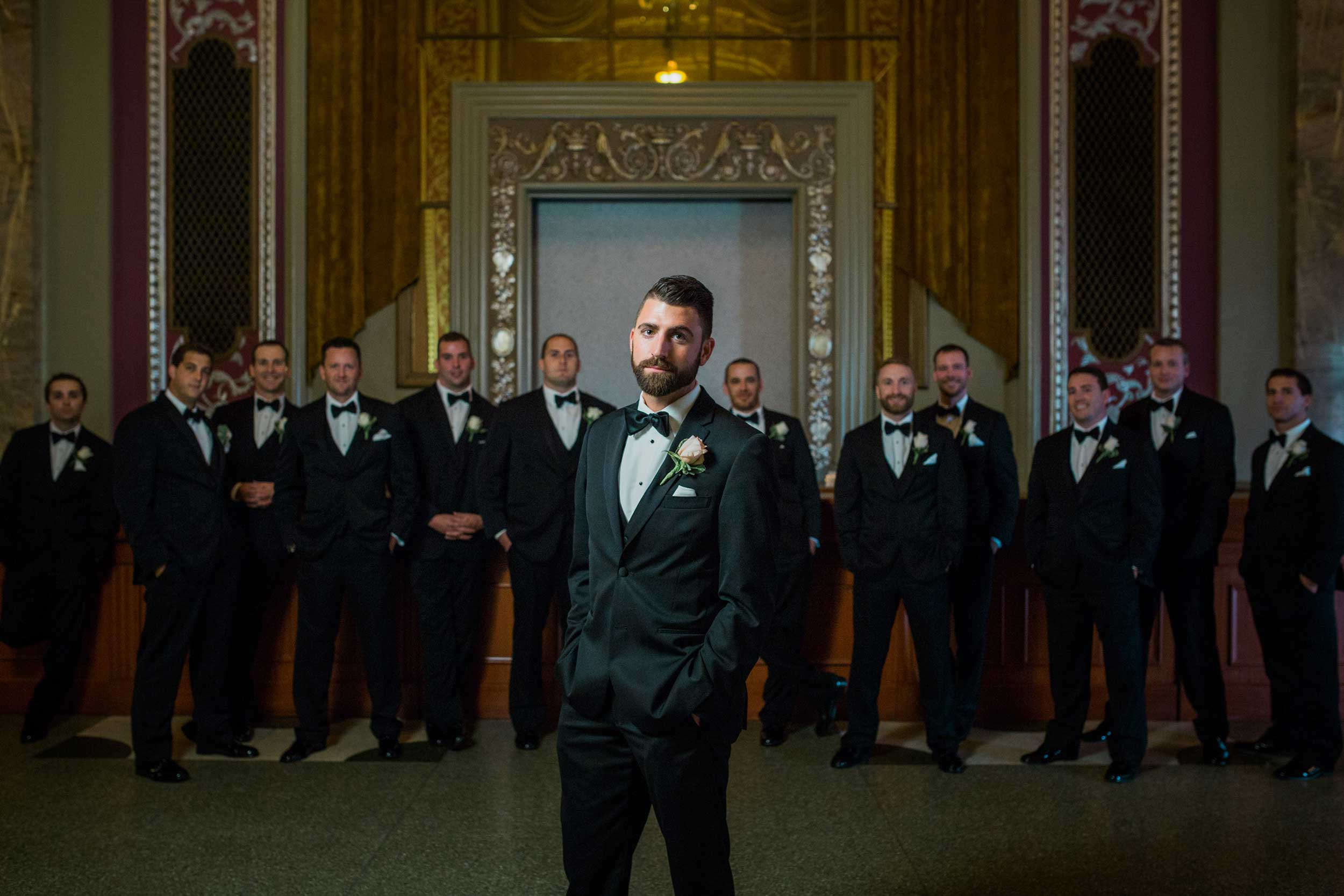 Groom's portrait at Powers Auditorium in Youngstown, OH.