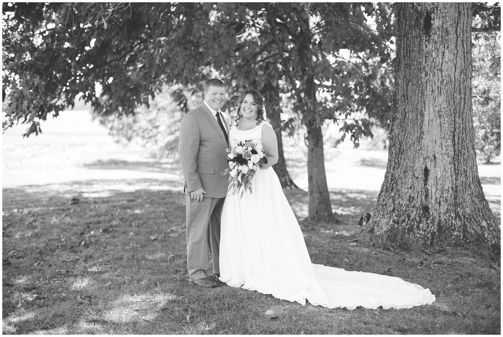 fall wedding bride and groom