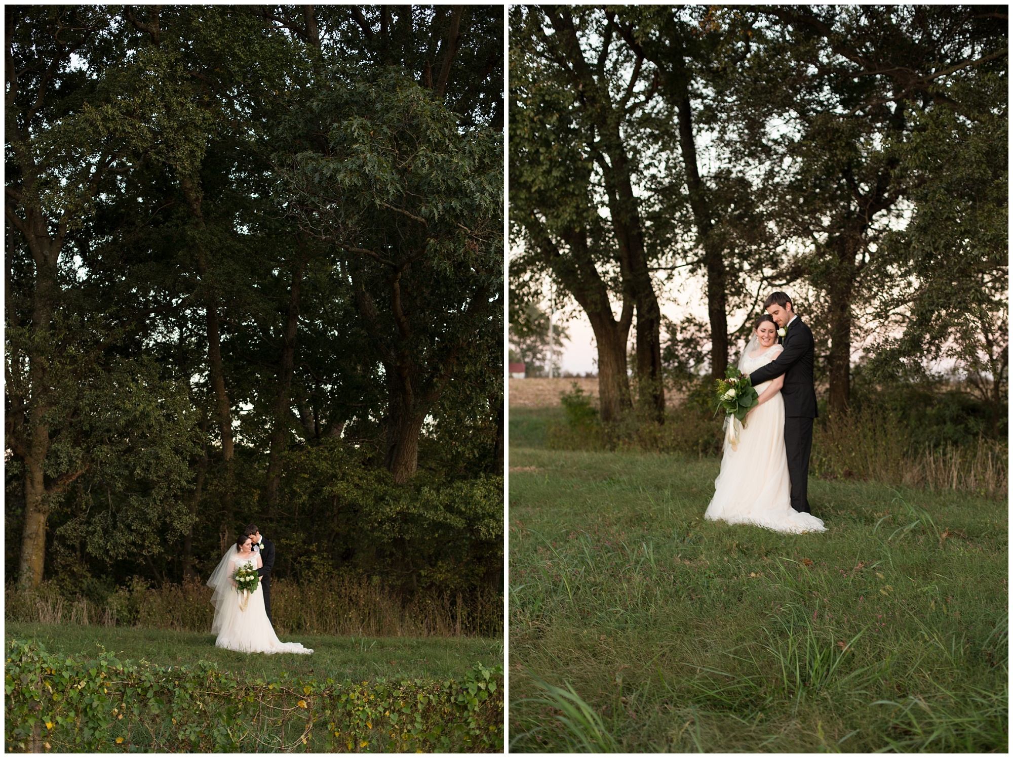 fall sunset bride and groom