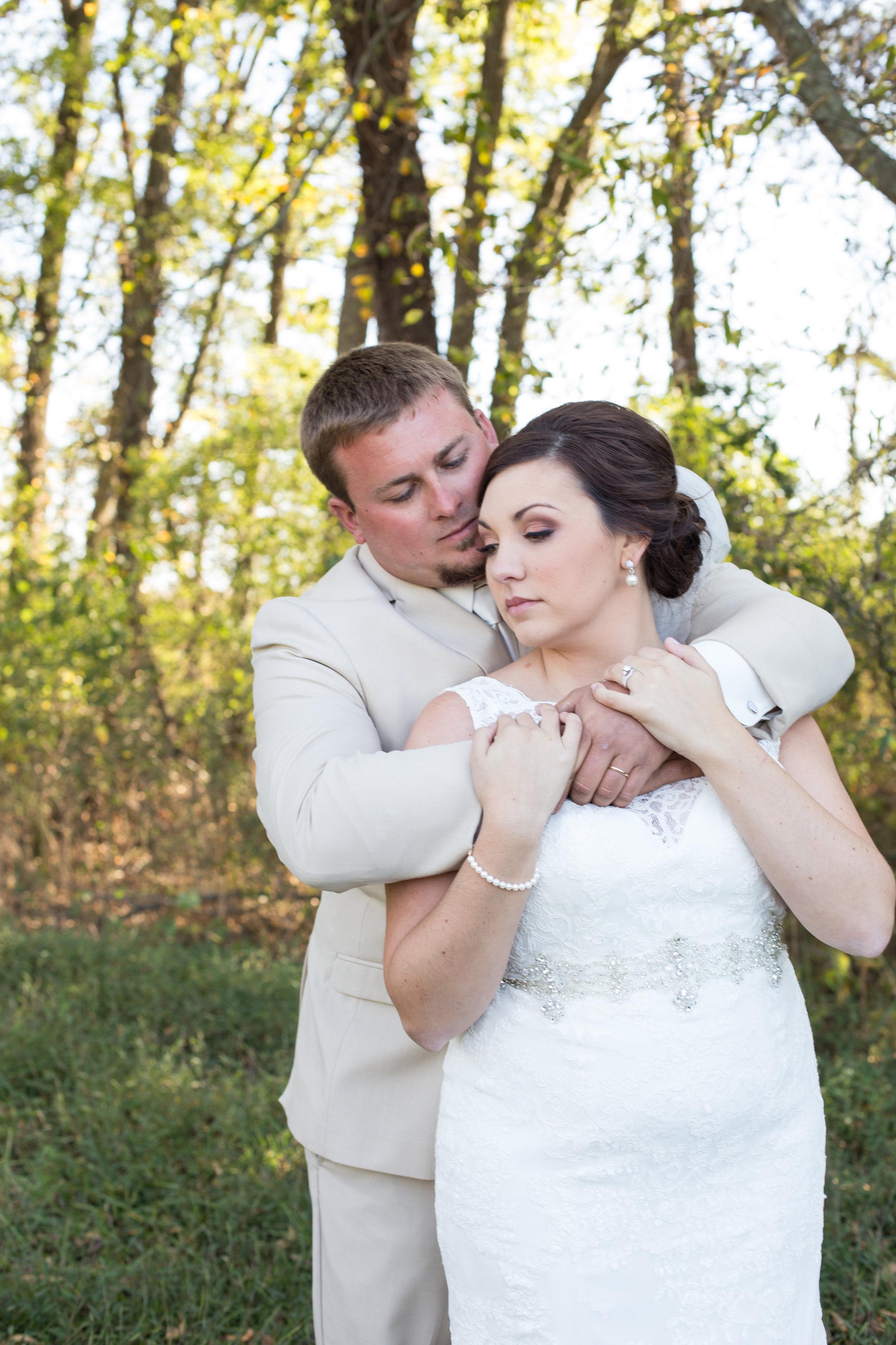 bride and groom somber fall wedding