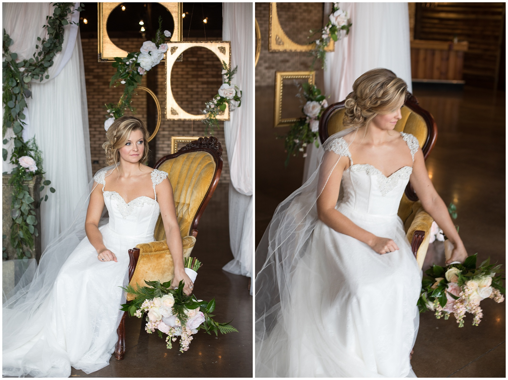 bride with golden chair