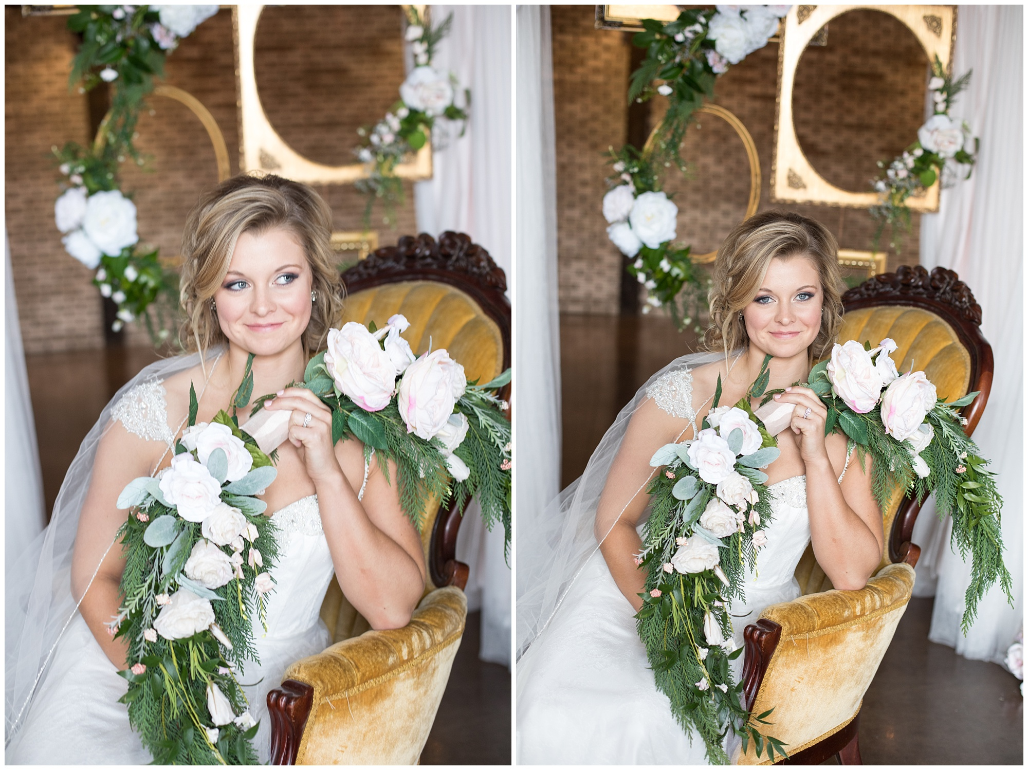 bride with wreath bouquet