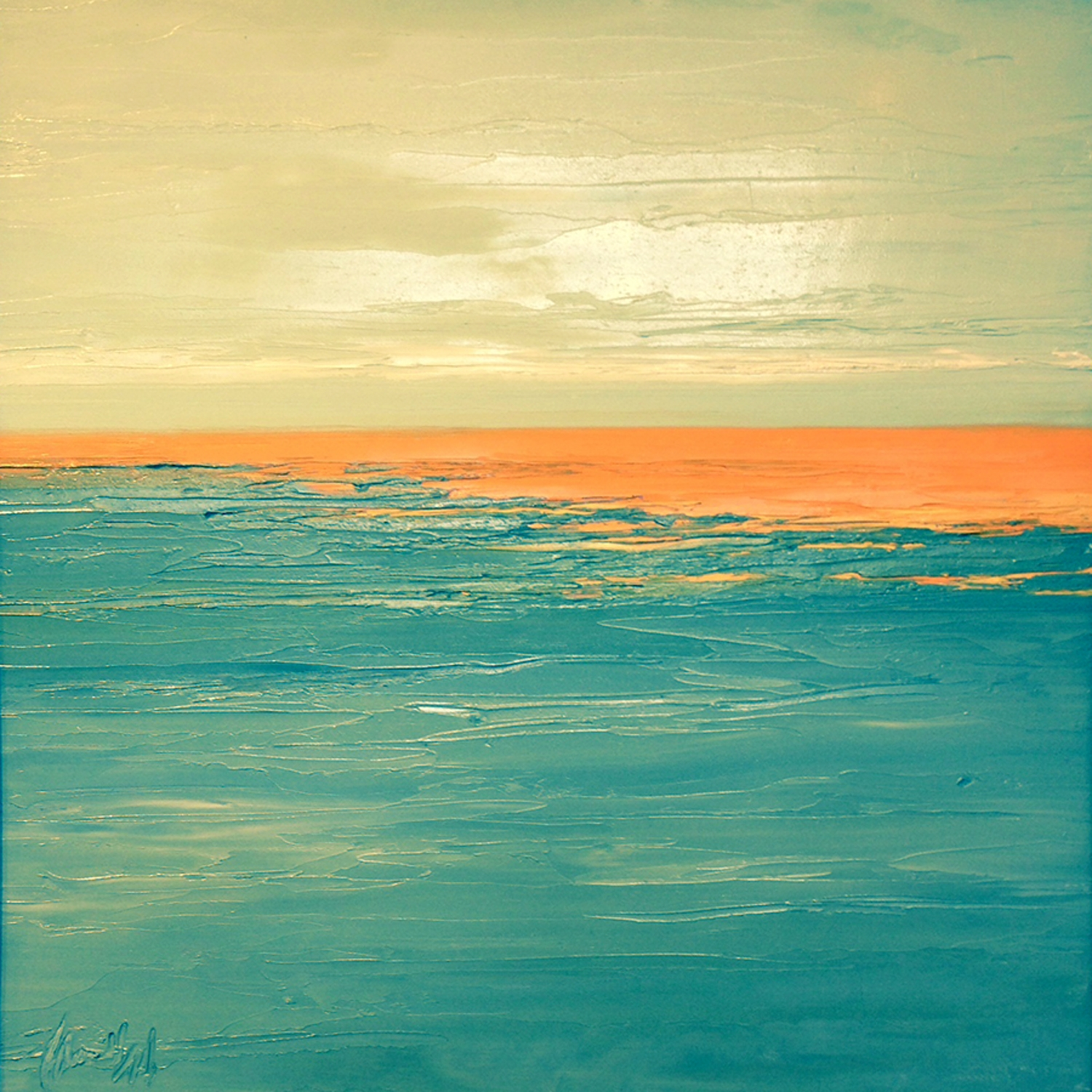 At The Horizon 3-27-2014, oil on board, 16 by 16 inches, 2014 - $1500 (sold)