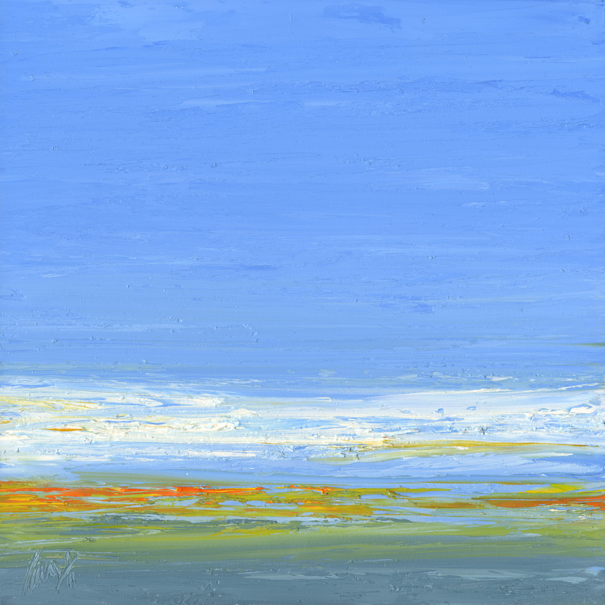 At The Horizon - orange and blue sky, oil on board, 12 by 12 inches, 2011 - $2500 (sold)