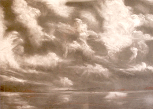 Stormy Sky, charcoal and conte' on paper, 24 by 36 inches, 2003 - $500