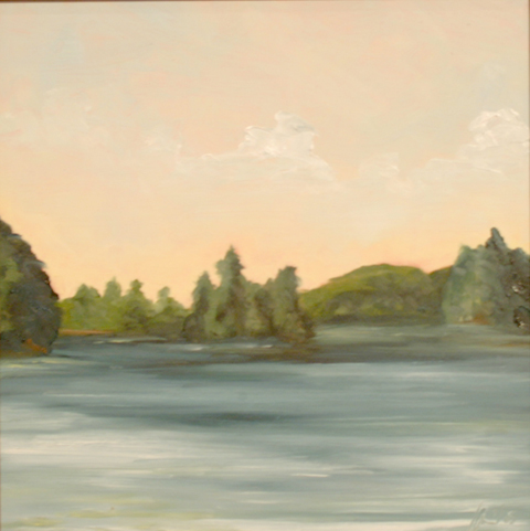 Hopkinton NH Pond, oil on board, 12 by 12 inches, 2005 - $750 (sold)