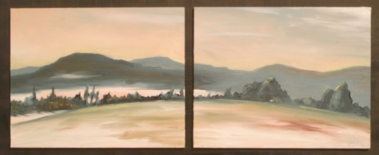 Lenox MA Winter View Diptych, oil on board, 10.5 by 23 inches, 2005 - $750 (sold)